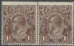 SG 58 ACSC 83(3)h. KGV Head 1½d Black-Brown pair (AHSMP/362)